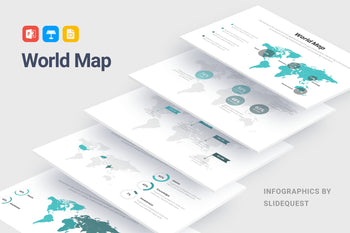World Map Infographics-PowerPoint Template, Keynote Template, Google Slides Template PPT Infographics -Slidequest