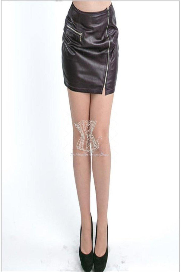 Mini Diagonal Zipper Skirt With Pocket Overbust