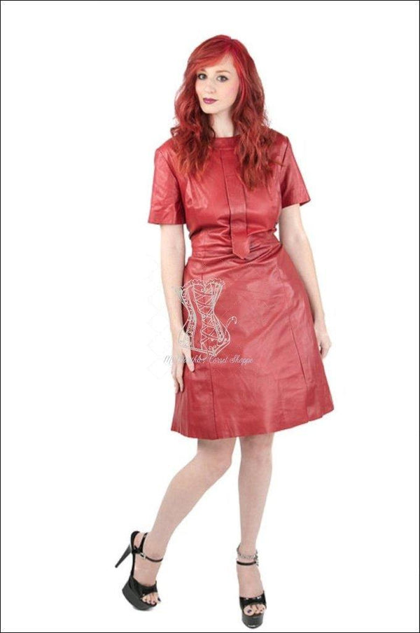 Short Sleeve Dress With Accent Neckline And Tie Overbust