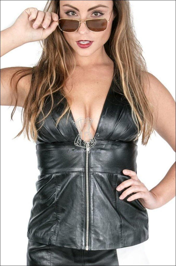 Sleeveless Plunging V-Neck Top With Zipper Overbust