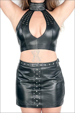 Studded Top Skirt Set Overbust