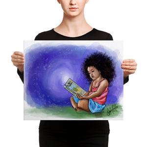 Girl reading canvas print