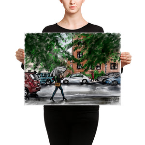 Lady with umbrella Canvas