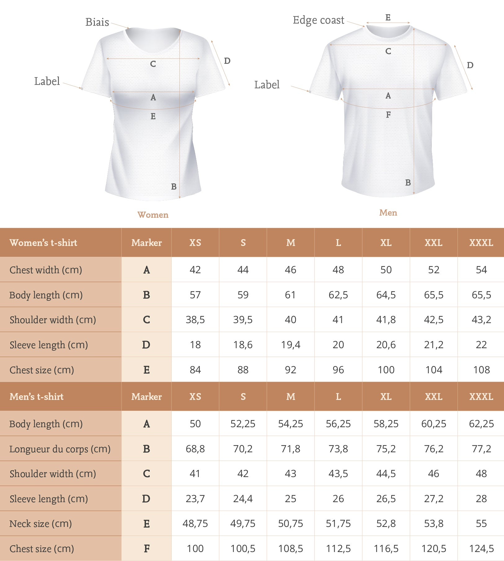 Linen t-shirt size guide