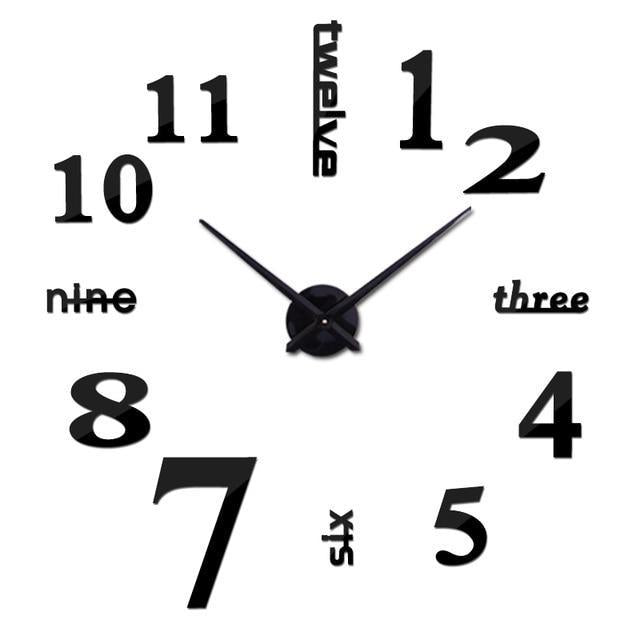 3D Big Wall Clock Evofine Black 47inch