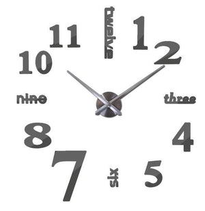 3D Big Wall Clock Evofine Dark Gray 47inch