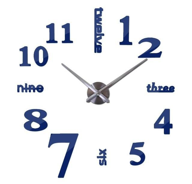 3D Big Wall Clock Evofine Deep Blue 47inch