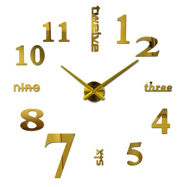 3D Big Wall Clock Evofine Gold 47inch