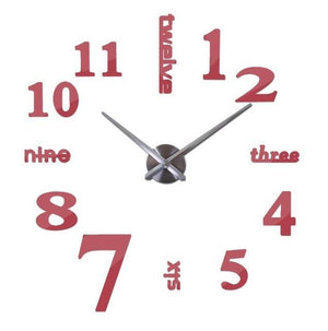 3D Big Wall Clock Evofine Red 47inch