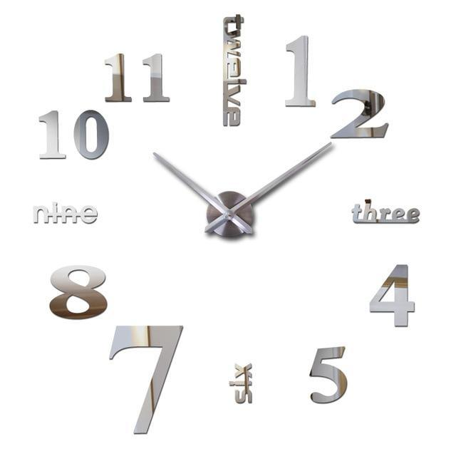 3D Big Wall Clock Evofine Silver 47inch