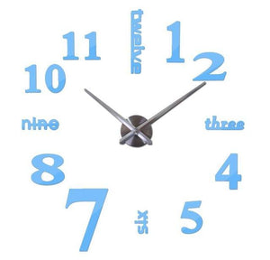 3D Big Wall Clock Evofine Sky Blue 47inch