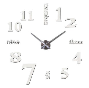 3D Big Wall Clock Evofine White 47inch