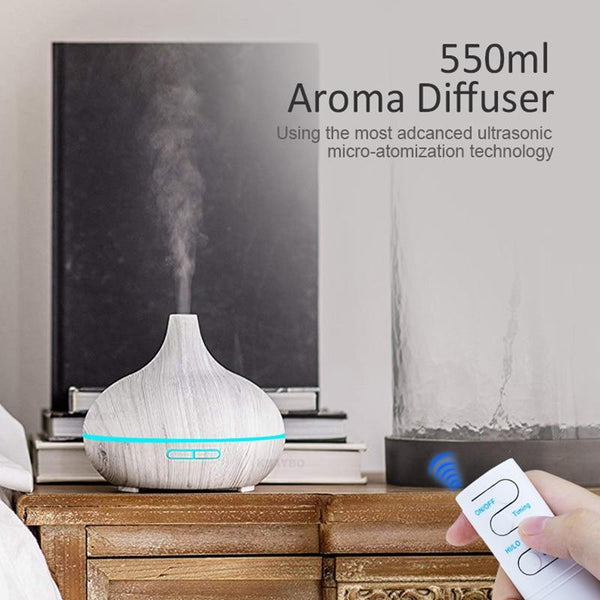 Aroma Essential Oil Diffuser 550ml Ultrasonic Cool Mist Air Humidifier with 4 Timer Setting