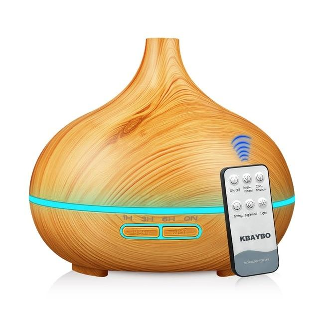 Aroma Essential Oil Diffuser 550ml Ultrasonic Cool Mist Air Humidifier with 4 Timer Setting Humidifier EvoFine Light wood