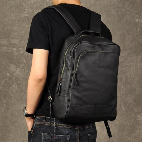 Black Genuine Leather Backpack Backpack EvoFine Default Title