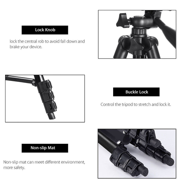 Camera Tripod with Carry Bag, Lightweight Travel Aluminum Professional Tripod Stand