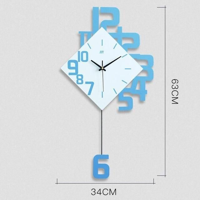 Creative Modern Wall Clock EvoFine Sky Blue