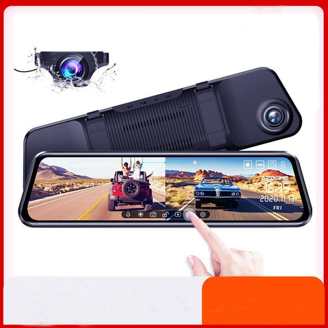 Dual Dash Cam Full Screen RearView Dashboard Camera with Full Touch Screen dash cam EvoFine 64G