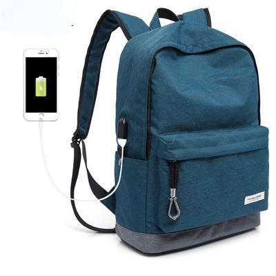 Exclusive Casual Backpack - USB Charging Waterproof Evofine Blue