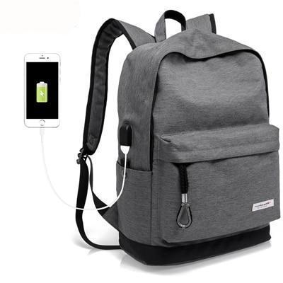 Exclusive Casual Backpack - USB Charging Waterproof Evofine Gray