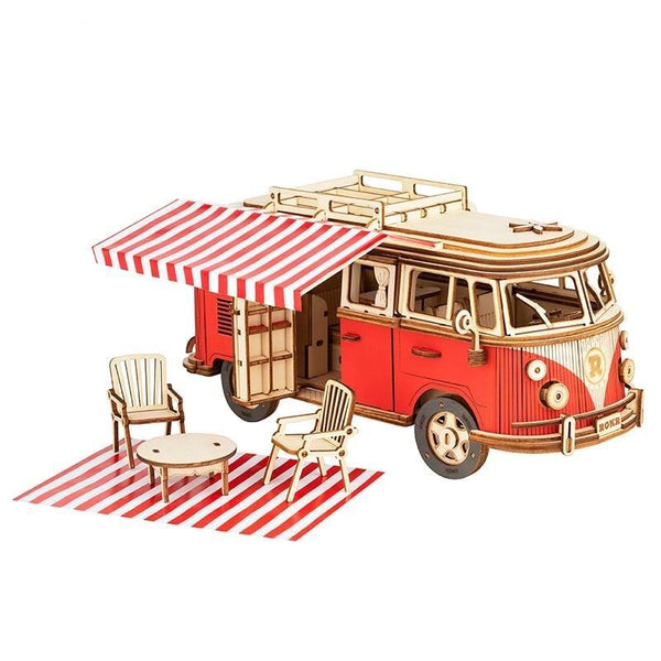 Friction Powered Cars Camper Van Wooden Puzzle 3D Miniature Car Model with Furniture Kit Gift Toys for Boys