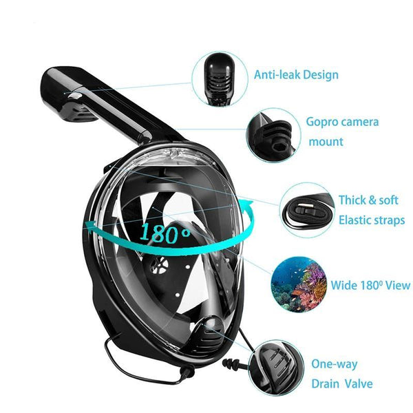 Full Face Snorkeling Mask with Detachable Camera Mount