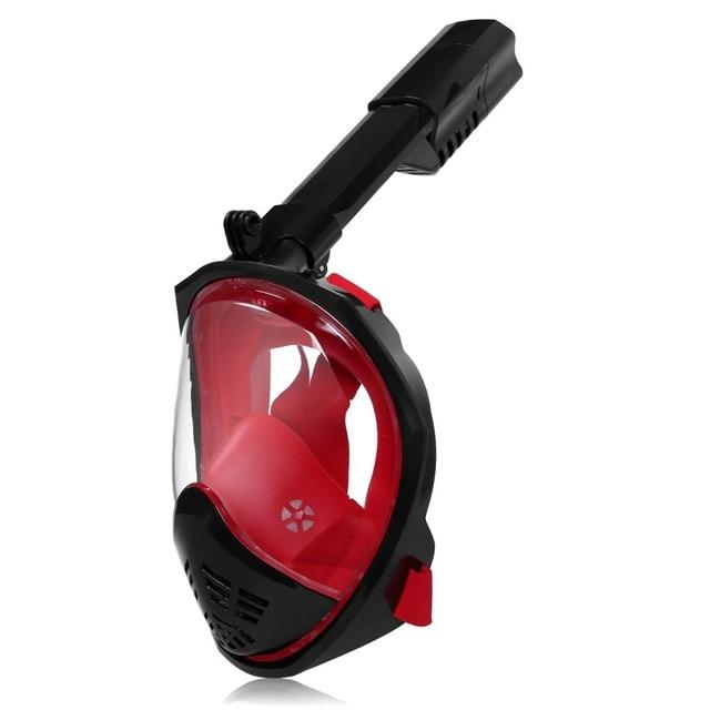 Full Face Snorkeling Mask with Detachable Camera Mount Snorkel Mask EvoFine Black red S/M