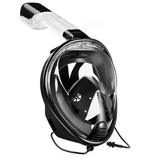 Full Face Snorkeling Mask with Detachable Camera Mount Snorkel Mask EvoFine Black S/M
