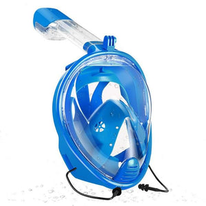 Full Face Snorkeling Mask with Detachable Camera Mount Snorkel Mask EvoFine blue diving mask L/XL