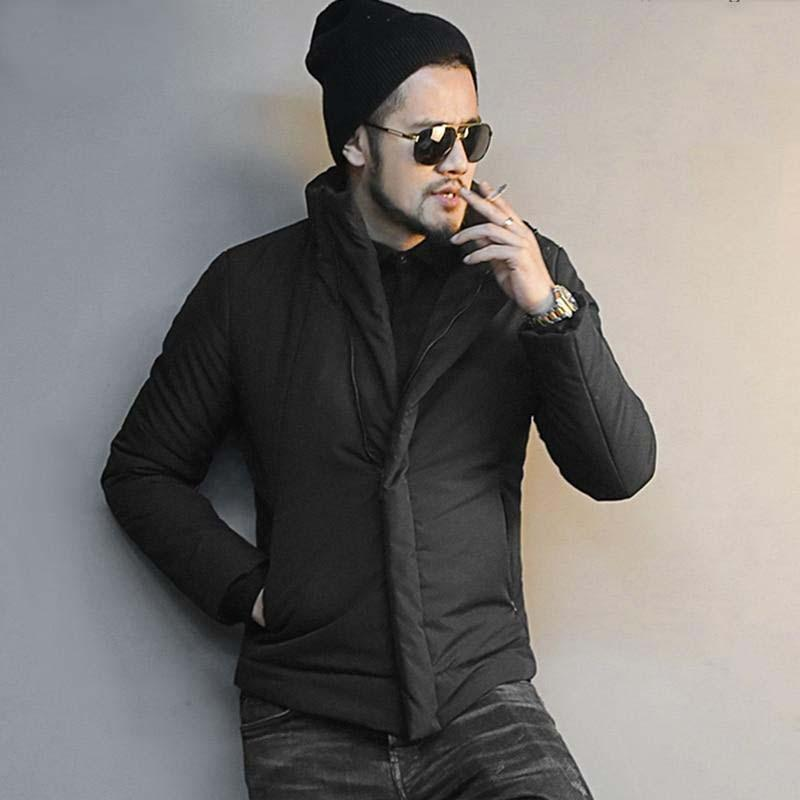 Men Winter Jacket Fashion Black Cotton Collar Coat Winter Jacket EvoFine XXL
