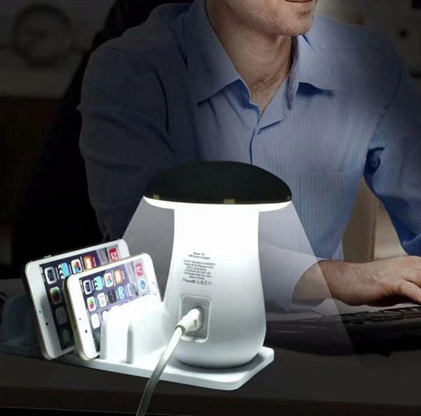 Multi Port Mushroom Led Lamp USB Charge Station