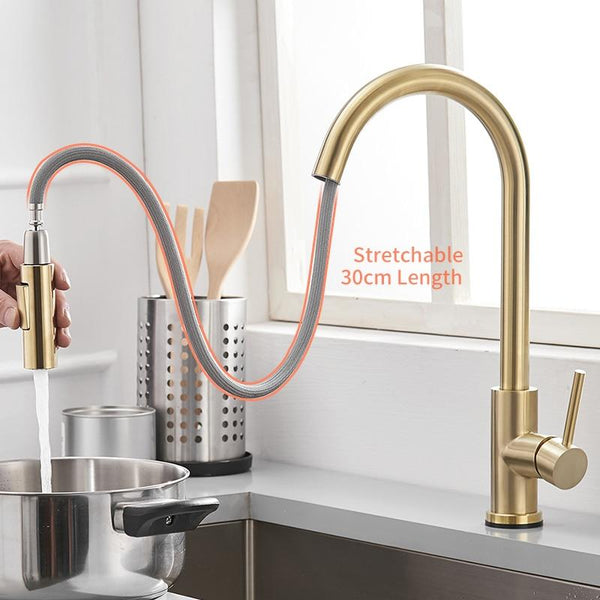 Single-Handle Touch Kitchen Sink Faucet with Pull Down Sprayer Touch Inductive Sensitive Faucet Mixer