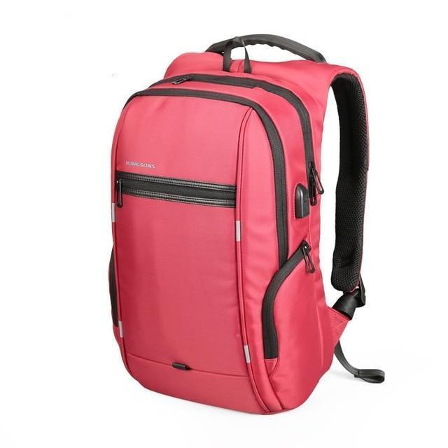 Smart USB Charging Anti-Theft Laptop Backpack Evofine Red 17 Inches