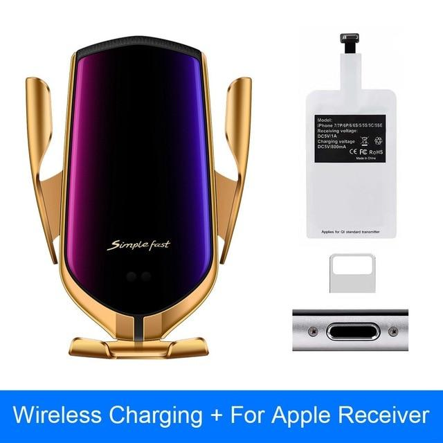 The Original Car Clamp Wireless Charging Dock Wireless Charger EvoFine Gold For IOS