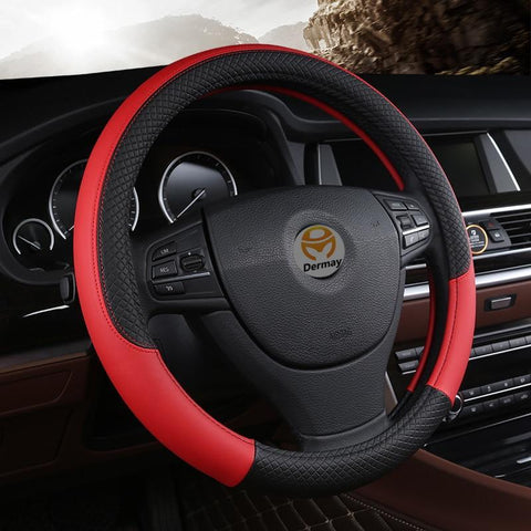 Universal Leather Car Steering wheel Cover Evofine
