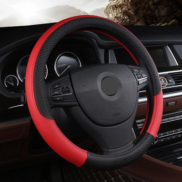 Universal Leather Car Steering wheel Cover Evofine Red