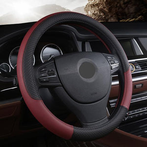 Universal Leather Car Steering wheel Cover Evofine Wine Red