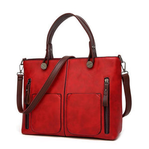 Women Causal Shoulder Leather Handbag All-Purpose Use Evofine Red