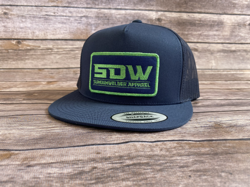 New School Patch Hat - Navy/Lime Green
