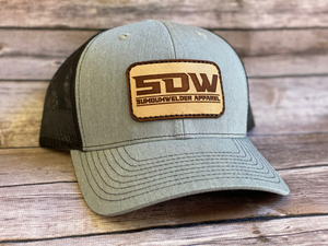SDW Leather Patch Hat - Heather Grey/Black
