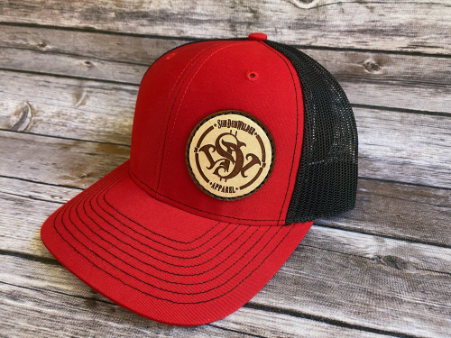 SDW Leather Patch Hat - Red/Black