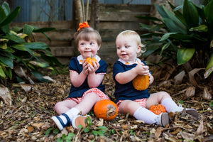 Navy Knit Bloomer Set with Pumpkin Embroidery (6m-2t, 4t)