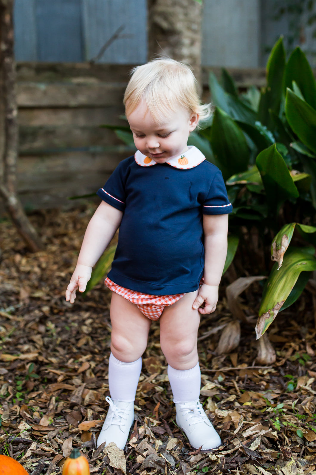 Navy Knit Diaper Set with Pumpkin Embroidery (12m, 18m, 24m)