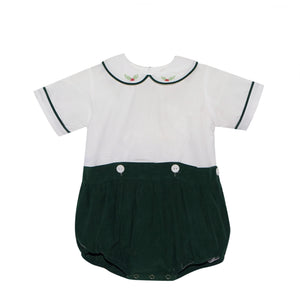Green Corduroy Button-On with Holly Embroidery (9m, 12m)