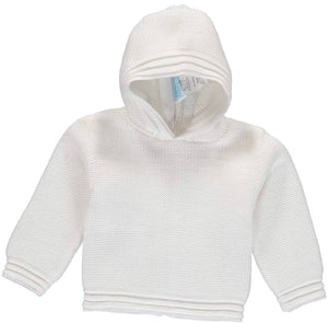 Zip Back Hoodie Sweater - White