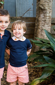 Boys' Navy Knit Short Set with Pumpkin Embroidery (2t, 4t)