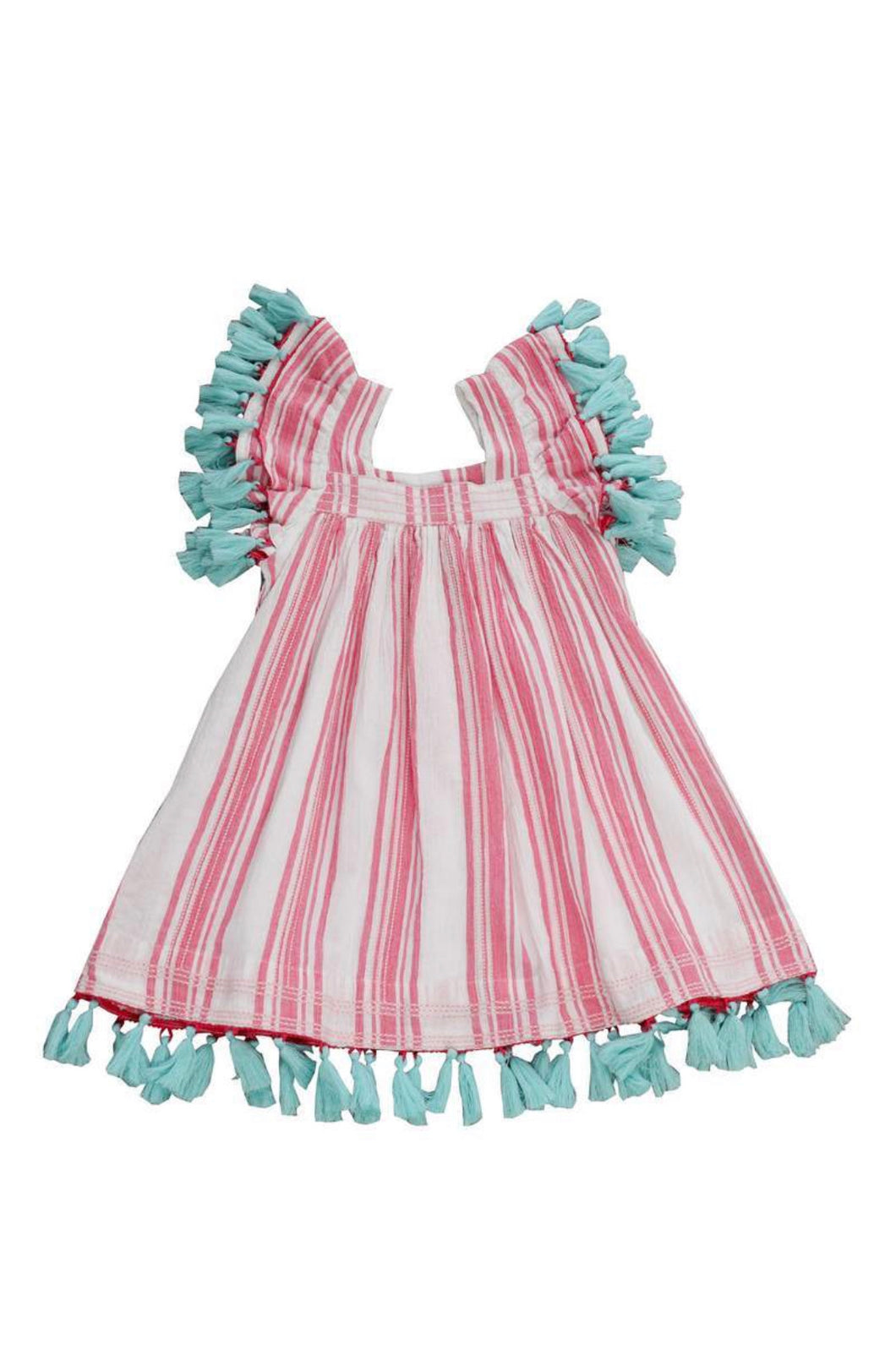 Serena Tassel Dress - Pink Stripe (2, 4, 6)