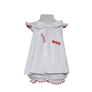 Sally Swing Set - White Seersucker with Red Ric Rac (18m, 24m, 2t, 3t)