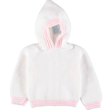 Zip Back Hoodie Sweater - White & Pink