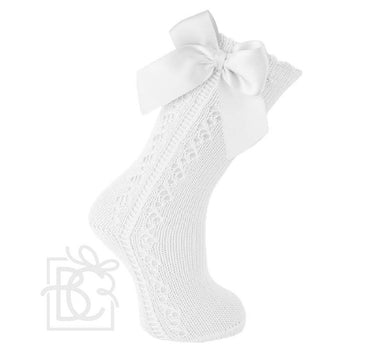 Scottish Yarn Openwork Bow Knee High Socks - White
